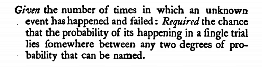 Figure 2: Bayes' problem description (p. 376), at the same time the first paragraph of his text.